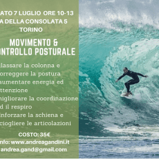"Sabato 7 luglio workshop ""movimento e controllo posturale"""